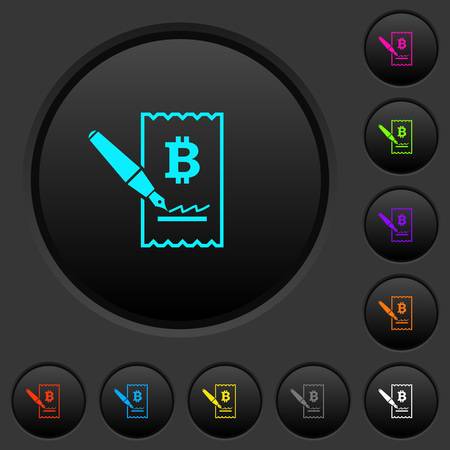 Signing Bitcoin cheque dark push buttons with vivid color icons on dark grey background