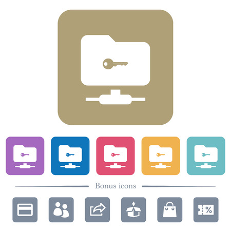 FTP secure white flat icons on color rounded square backgrounds. 6 bonus icons included