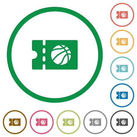 Basketball discount coupon flat color icons in round outlines on white background Ilustración de vector