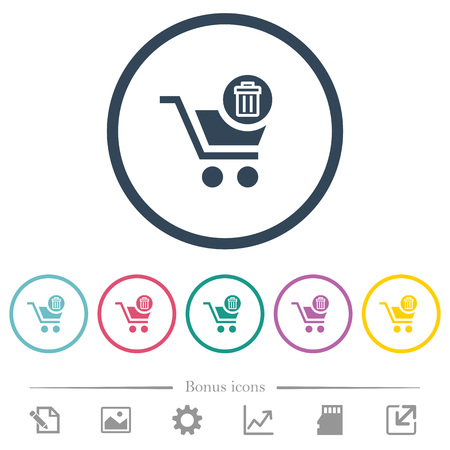 Delete from cart flat color icons in round outlines. 6 bonus icons included. Stock fotó - 110515858
