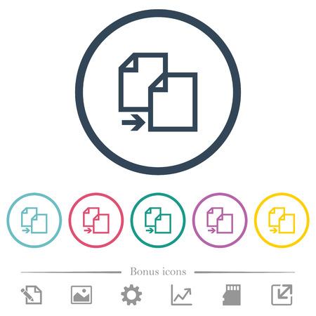 Copy item flat color icons in round outlines. 6 bonus icons included. Vektoros illusztráció