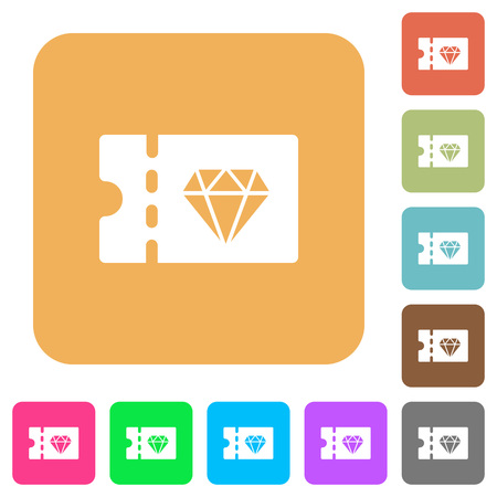 Jewelry store discount coupon flat icons on rounded square vivid color backgrounds.