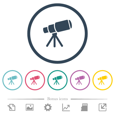 Space telescope flat color icons in round outlines. 6 bonus icons included.