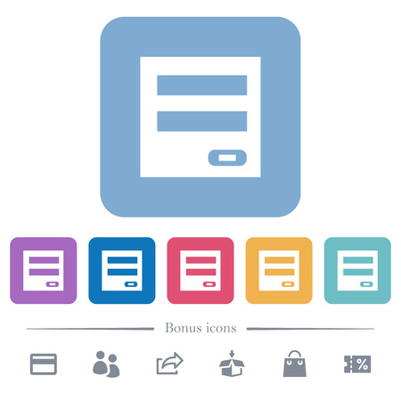 Login panel white flat icons on color rounded square backgrounds. 6 bonus icons included