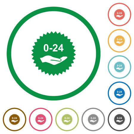 24 hours service sticker flat color icons in round outlines on white background