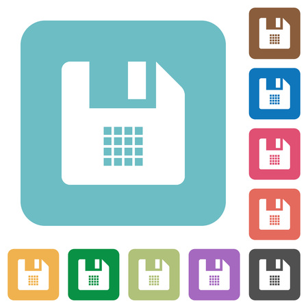 File grid view white flat icons on color rounded square backgrounds