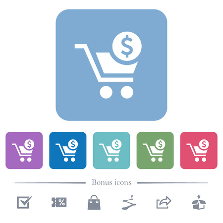 Checkout with Dollar cart white flat icons on color rounded square backgrounds. 6 bonus icons included