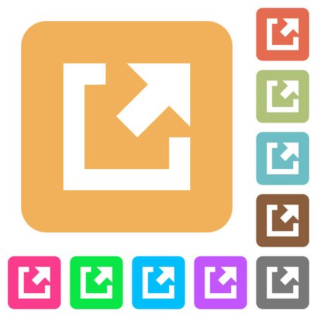 External link flat icons on rounded square vivid color backgrounds.