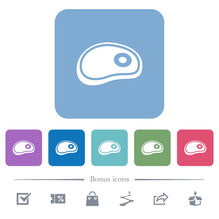 Steak white flat icons on color rounded square backgrounds. 6 bonus icons included