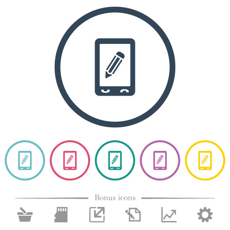 Mobile memo flat color icons in round outlines. 6 bonus icons included.