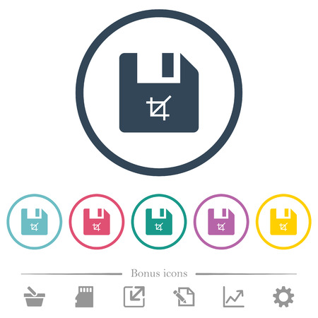 Truncate file flat color icons in round outlines. 6 bonus icons included.