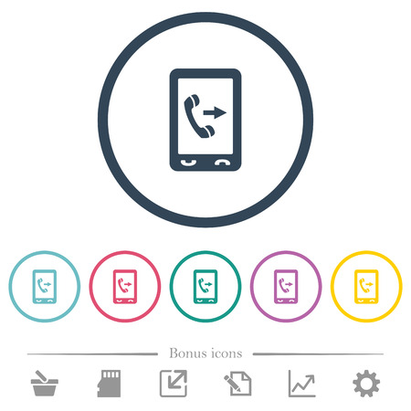Outgoing mobile call flat color icons in round outlines. 6 bonus icons included.