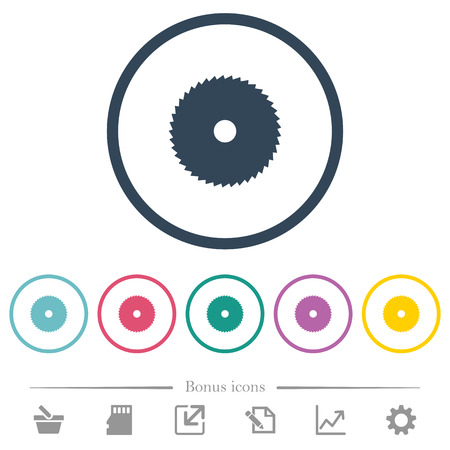 Circular saw flat color icons in round outlines. 6 bonus icons included.