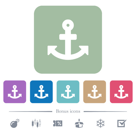 Anchor white flat icons on color rounded square backgrounds. 6 bonus icons included