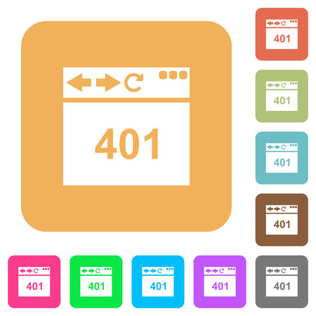 Browser 401 Unauthorized flat icons on rounded square vivid color backgrounds.