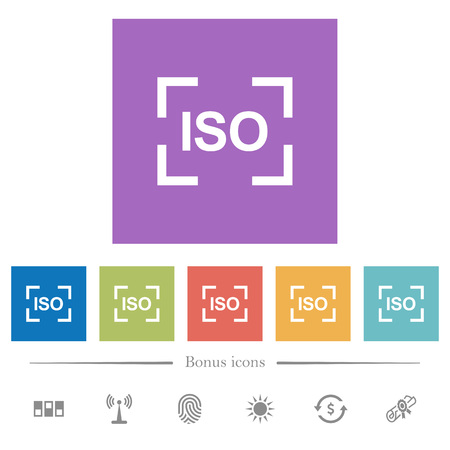 Camera iso speed setting flat white icons in square backgrounds. 6 bonus icons included.