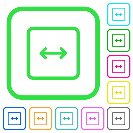 Adjust object width vivid colored flat icons in curved borders on white background Illustration