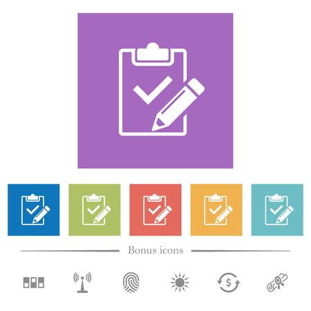 Fill out checklist flat white icons in square backgrounds. 6 bonus icons included.