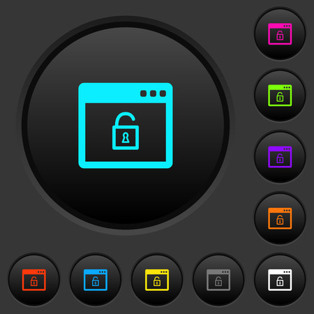 Unlock application dark push buttons with vivid color icons on dark grey background
