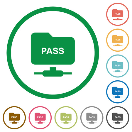 ftp authentication password flat color icons in round outlines on white background