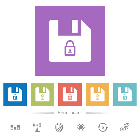 Lock file flat white icons in square backgrounds. 6 bonus icons included.