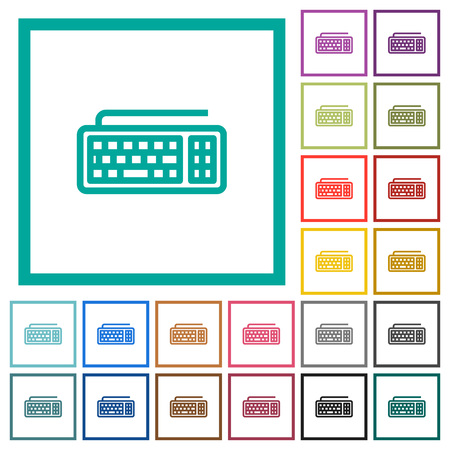 Computer keyboard flat color icons with quadrant frames on white background