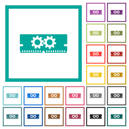 Memory optimization flat color icons with quadrant frames on white background