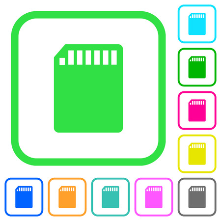 SD memory card vivid colored flat icons in curved borders on white background