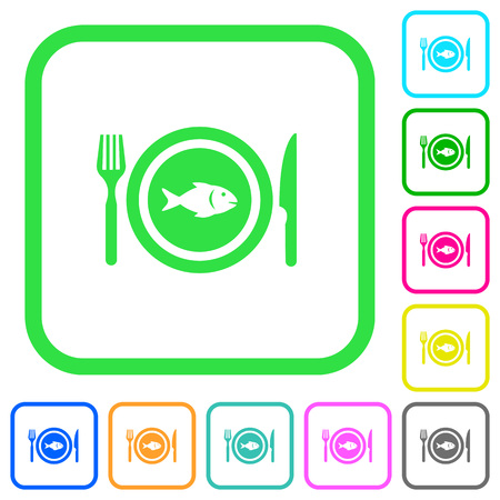Fish for lunch vivid colored flat icons in curved borders on white background