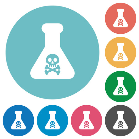 Dangerous chemical experiment flat white icons on round color backgrounds