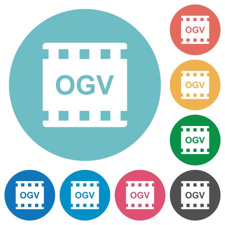 OGV movie format flat white icons on round color backgrounds Ilustração Vetorial