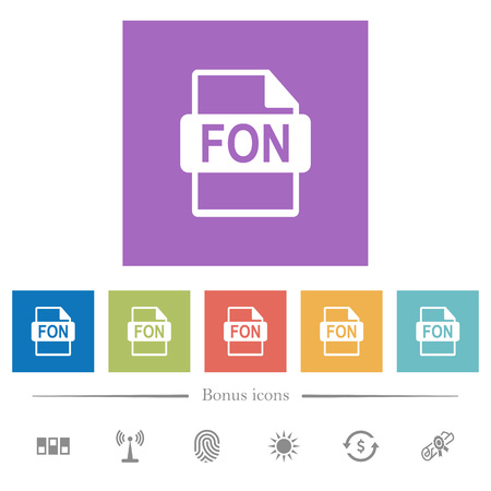 FON file format flat white icons in square backgrounds. 6 bonus icons included.