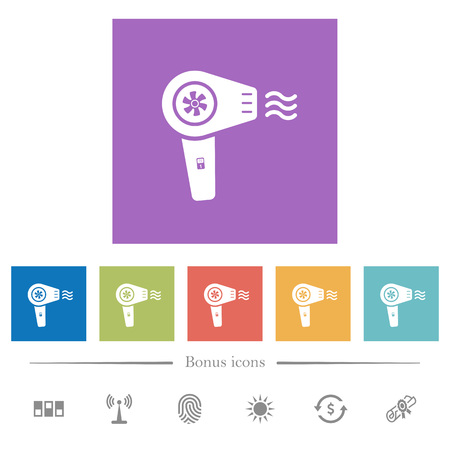 Hairdryer with propeller flat white icons in square backgrounds. 6 bonus icons included.