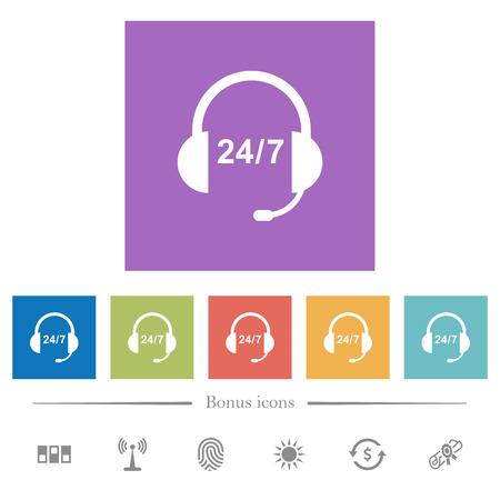 Centre d'appels 24 heures sur 24 icônes blanches plates dans des arrière-plans carrés. 6 icônes bonus incluses.