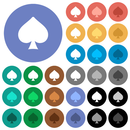 Spades card symbol multi colored flat icons on round backgrounds. Included white, light and dark icon variations for hover and active status effects, and bonus shades. Foto de archivo - 111664047