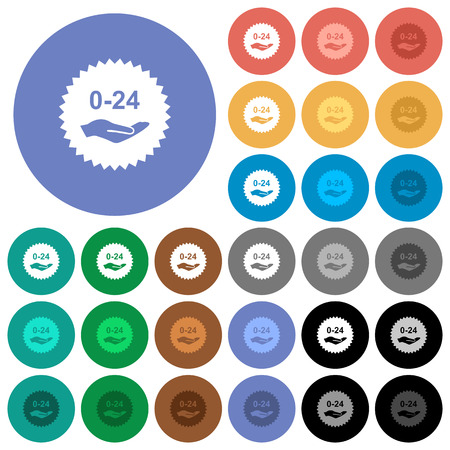 24 hours service sticker multi colored flat icons on round backgrounds. Included white, light and dark icon variations for hover and active status effects, and bonus shades.