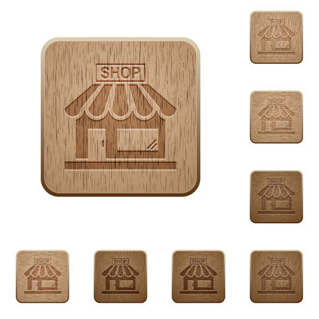 Store front on rounded square carved wooden button styles Vectores