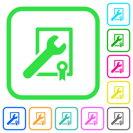 Award winning services vivid colored flat icons in curved borders on white background  イラスト・ベクター素材