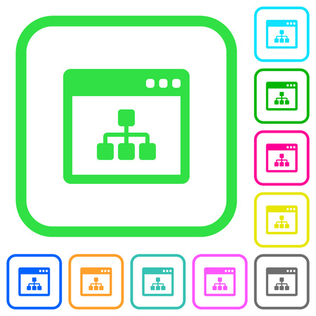 Networking application vivid colored flat icons in curved borders on white background