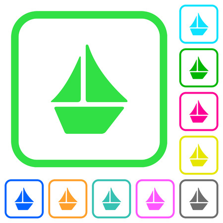 Sailboat vivid colored flat icons in curved borders on white background Векторная Иллюстрация