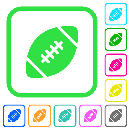 Rugby ball vivid colored flat icons in curved borders on white background
