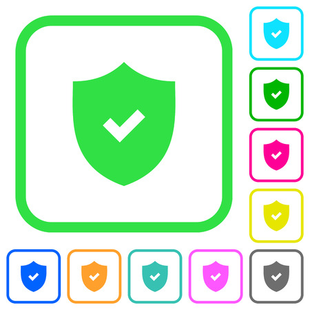 Active security vivid colored flat icons in curved borders on white background