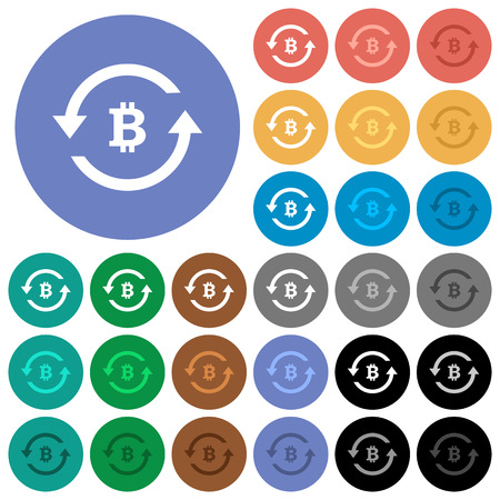 Bitcoin pay back multi colored flat icons on round backgrounds. Included white, light and dark icon variations for hover and active status effects, and bonus shades on black backgounds.
