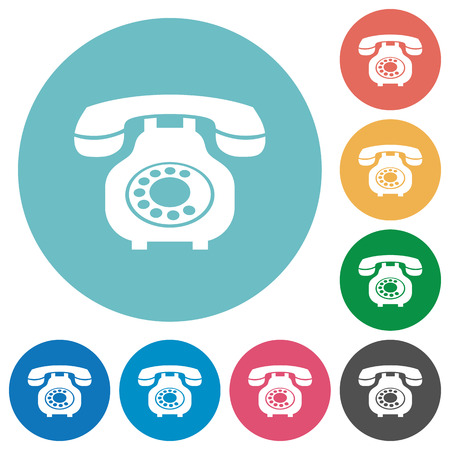 Vintage retro telephone flat white icons on round color backgrounds Ilustração