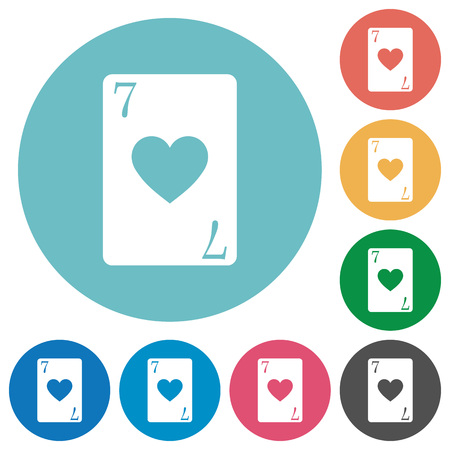 Seven of hearts card flat white icons on round color backgrounds