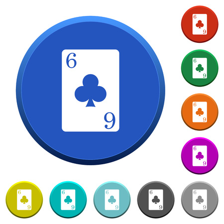 Six of clubs card round color beveled buttons with smooth surfaces and flat white icons Foto de archivo - 111681538