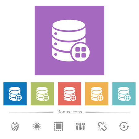 Database modules flat white icons in square backgrounds. 6 bonus icons included.