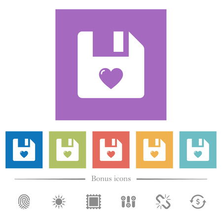 Favorite file flat white icons in square backgrounds. 6 bonus icons included.
