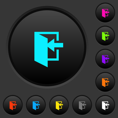 Enter dark push buttons with vivid color icons on dark grey background Vecteurs