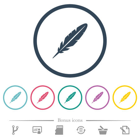 Single feather flat color icons in round outlines. 6 bonus icons included. Illustration